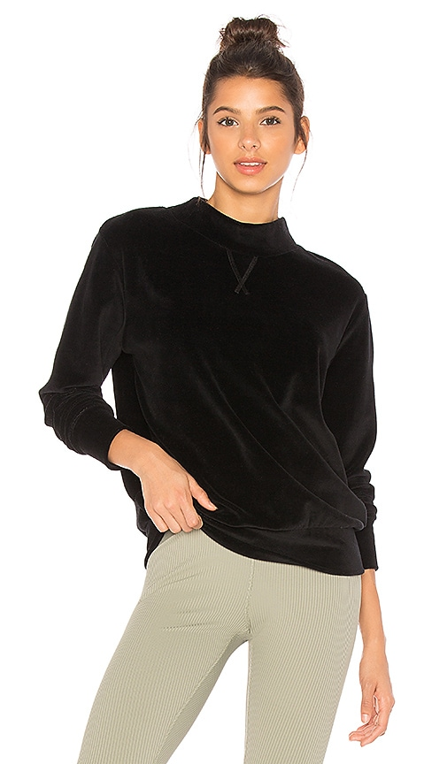 YEAR OF OURS Velour Mock Neck Sweatshirt in Black