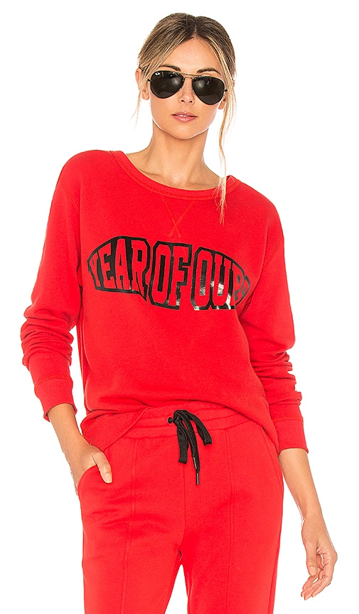 YEAR OF OURS Crew Neck Sweatshirt in Red