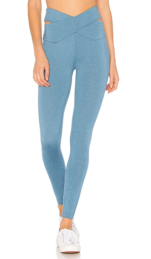 YEAR OF OURS Crossed Cut Out Waist Legging in Blue