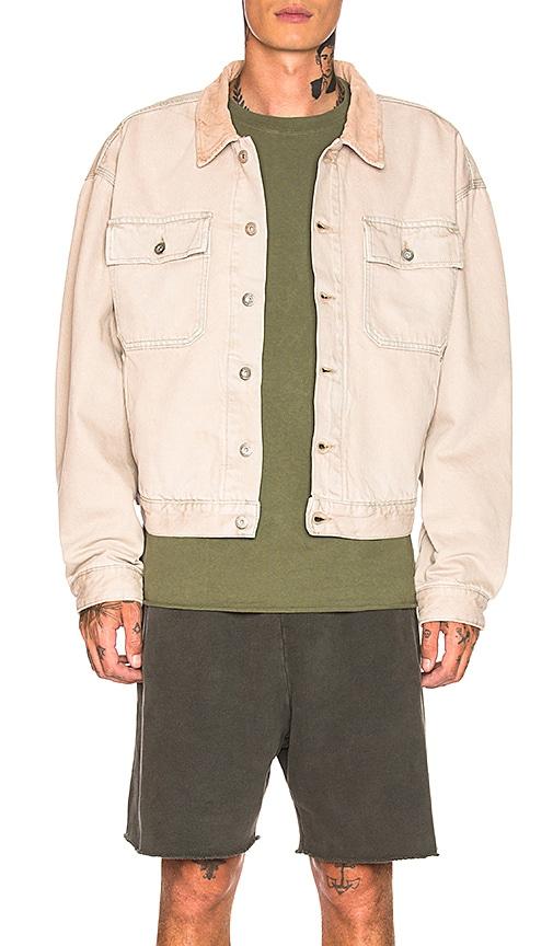 c323dd58 YEEZY Season 6 Flannel Lined Denim Jacket in Medium Blue | REVOLVE