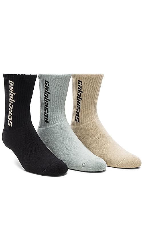 055c41fa1 YEEZY Season 6 Calabasas 3 Pack Socks in Multi