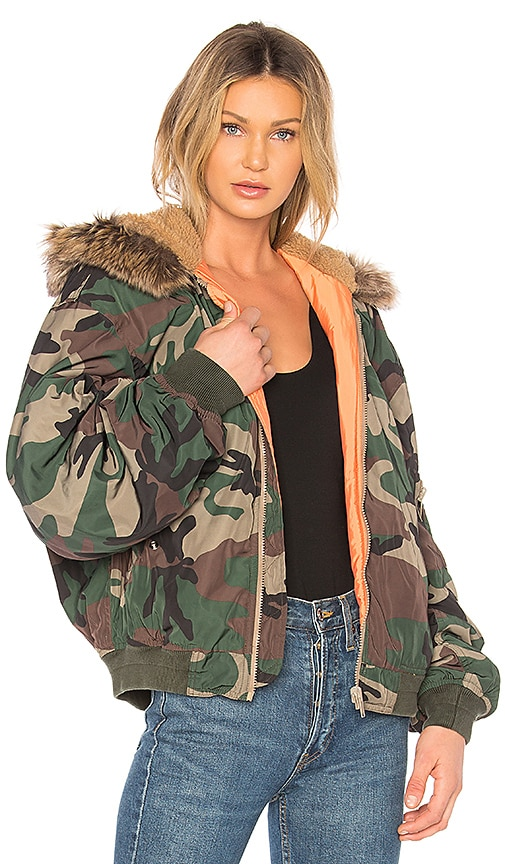 YEEZY Season 5 Hood Bomber With Faux Fur in Army