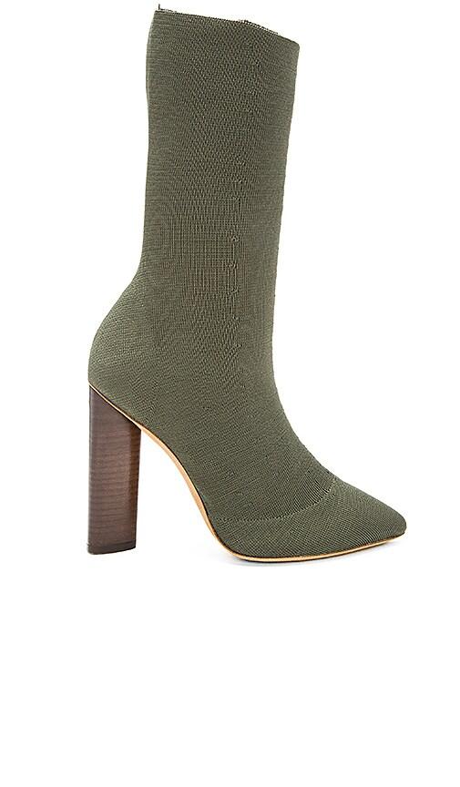 YEEZY Season 2 Low Knit Boot in Dark Olive