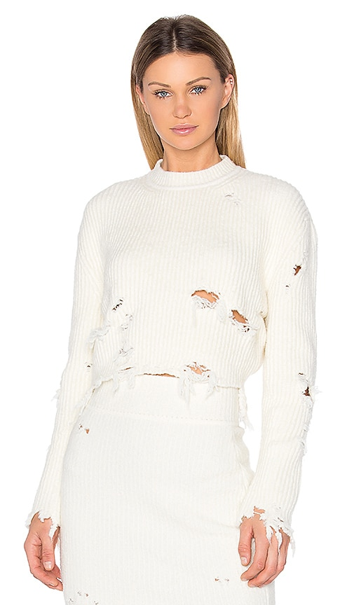 YEEZY Season 3 Destroyed Crop Boucle Sweater in White