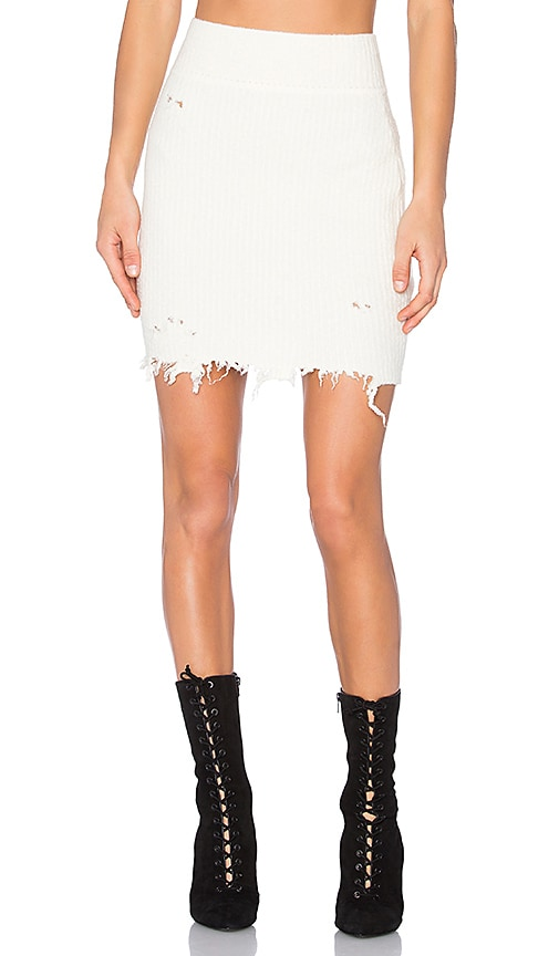 YEEZY Season 3 Destroyed Boucle Skirt in White