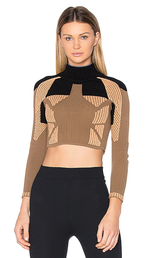 YEEZY Season 3 Crop Mock Neck Top in Brown