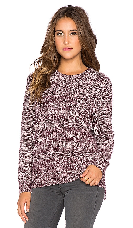 Yerse Fringe Sweater in Red