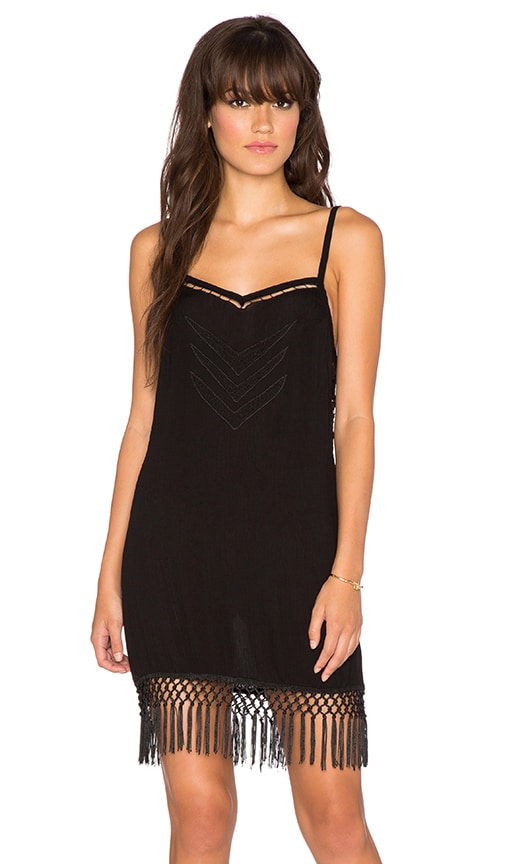 YIREH Lakey Fringe Dress in Black