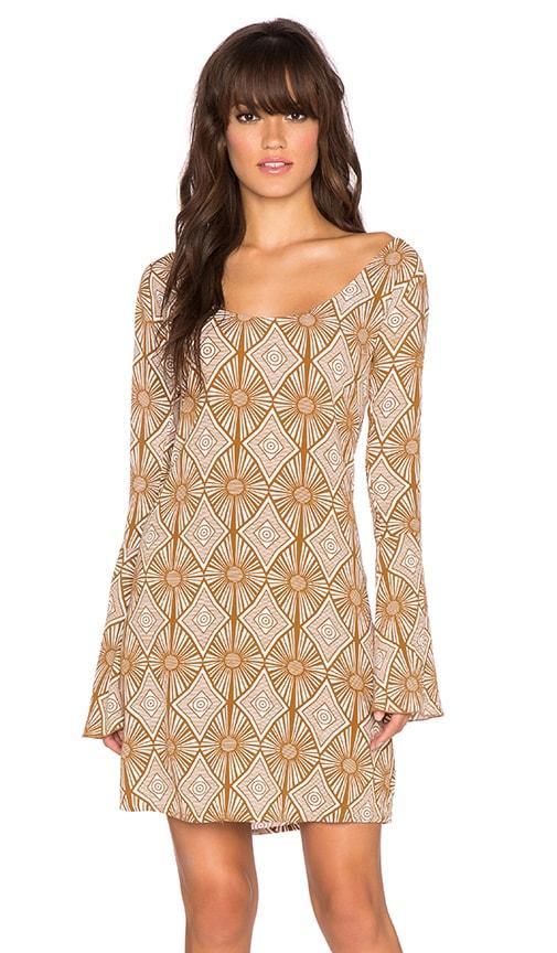 YIREH Maize Bell Sleeve Dress in Sand Dollar