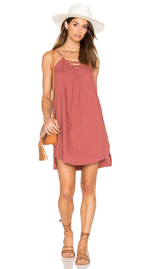 YORK street Lace Up Cami Dress in Marsala