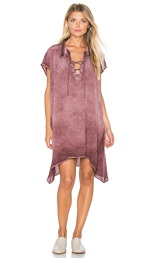 YORK street Laced Collar Dress in Currant