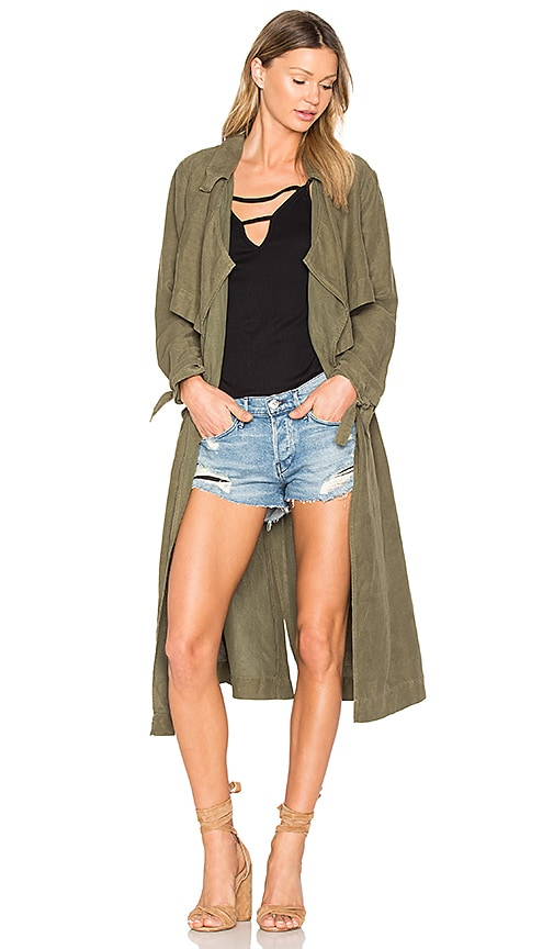YORK street Tie Trench Coat in Army