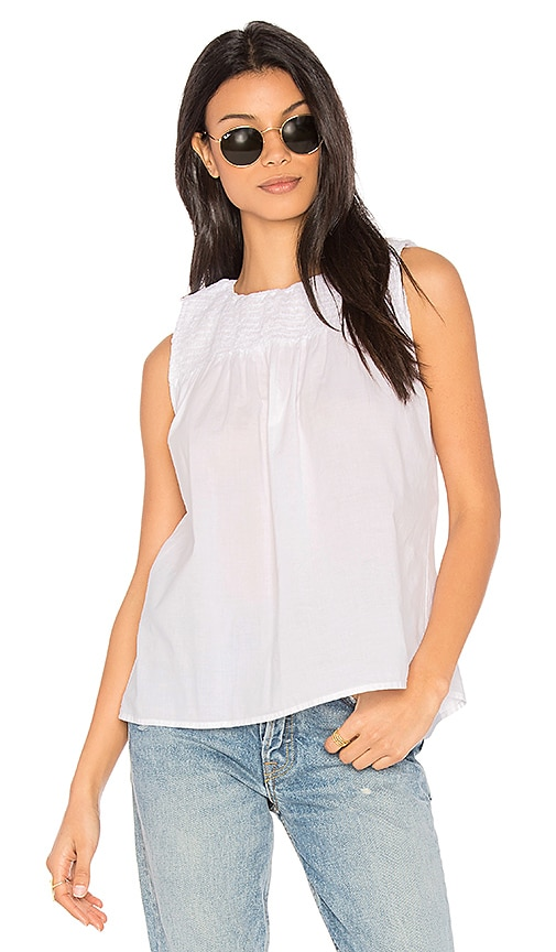 YORK street Smocked Crop Top in White