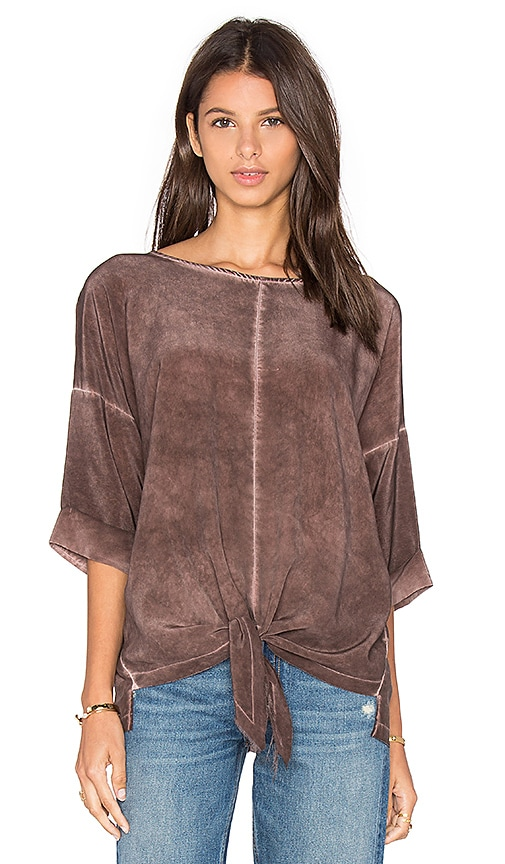 YORK street Tie Front Blouse in Burgundy