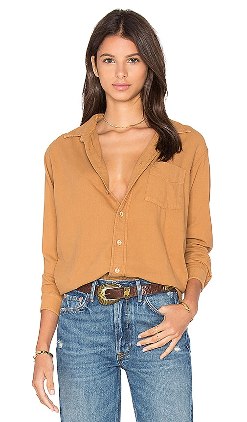 YORK street Perfect Boyfriend Top in Tan