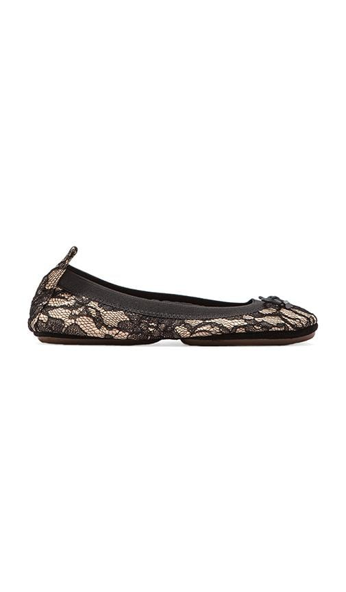 Leather Blacked Lace Ballet Flat