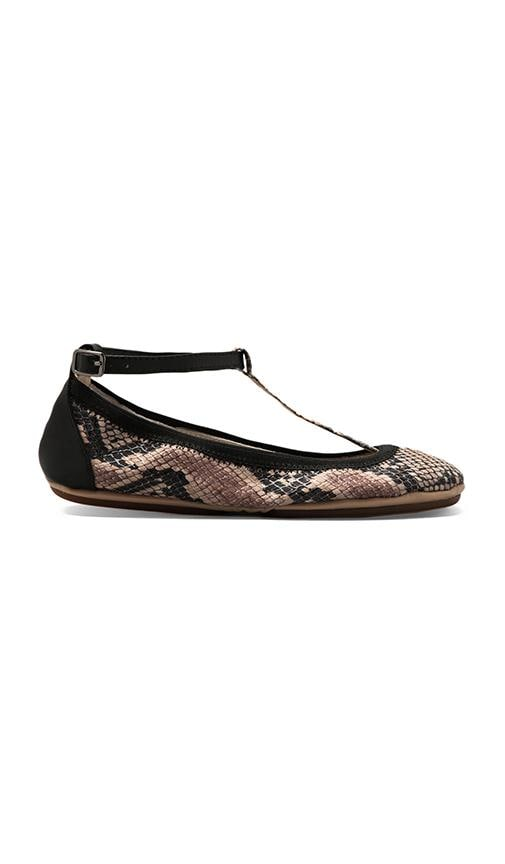 T Strap Leather Ballet Flat