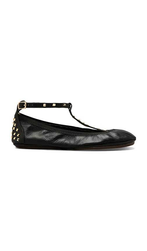Gold Studded T Strap Leather Ballet Flat