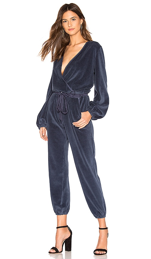 Young Fabulous Broke Foiley Velour Jumpsuit In Sapphire Revolve