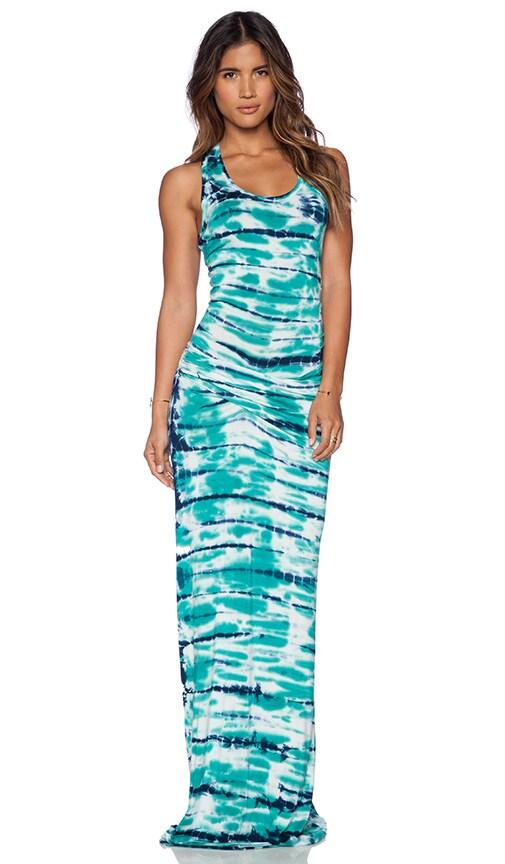 Young, Fabulous & Broke Hamptons Maxi Dress in Green & Navy Shorebreak