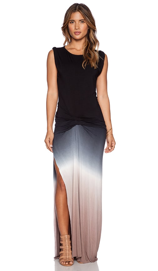 Young, Fabulous & Broke Bryton Maxi Dress in Black& Tan Ombre