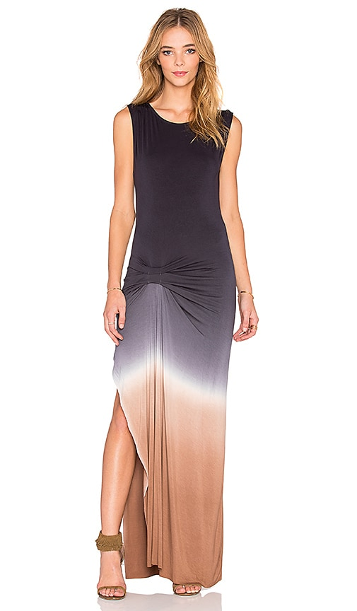 Young, Fabulous & Broke Bryton Maxi Dress in Black Tan Ombre