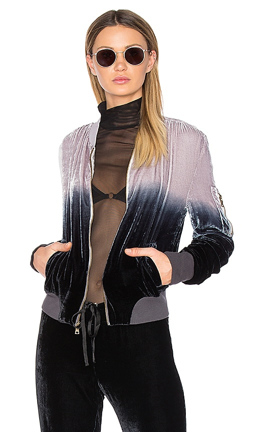 Young, Fabulous & Broke Velvet Bomber Jacket in Black