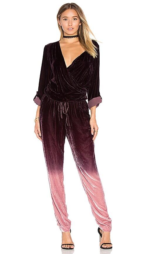 Young Fabulous Broke Zander Velvet Jumpsuit In Burgundy Ombre
