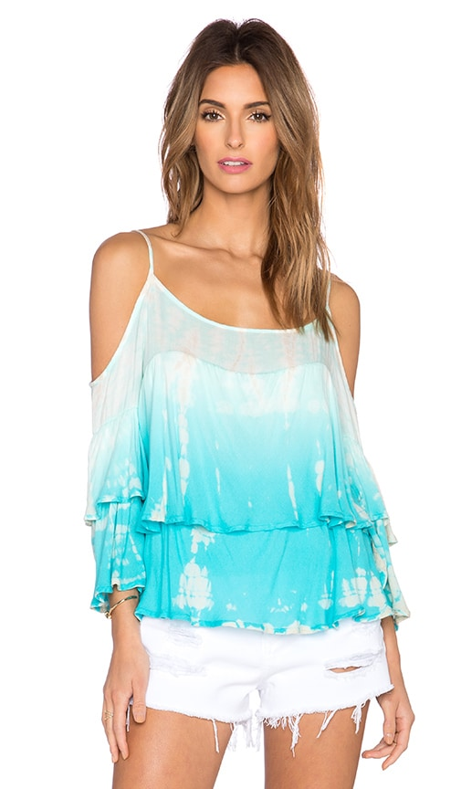 Young, Fabulous & Broke Gia Top in Turquoise Rain Ombre