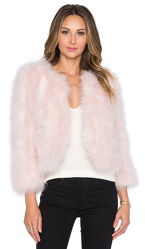 Yumi Kim Away We Go Faux Fur Feather Jacket in Pink
