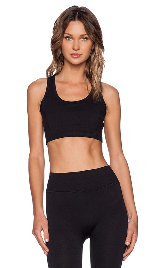 Yummie by Heather Thomson Cotton Wow Racerback Bra in Black