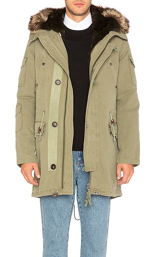 Yves Salomon Canvas Parka with Rabbit and Raccoon Fur in Green