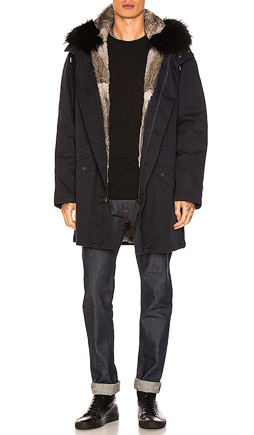 Cotton Parka with Rabbit and Raccoon Fur
