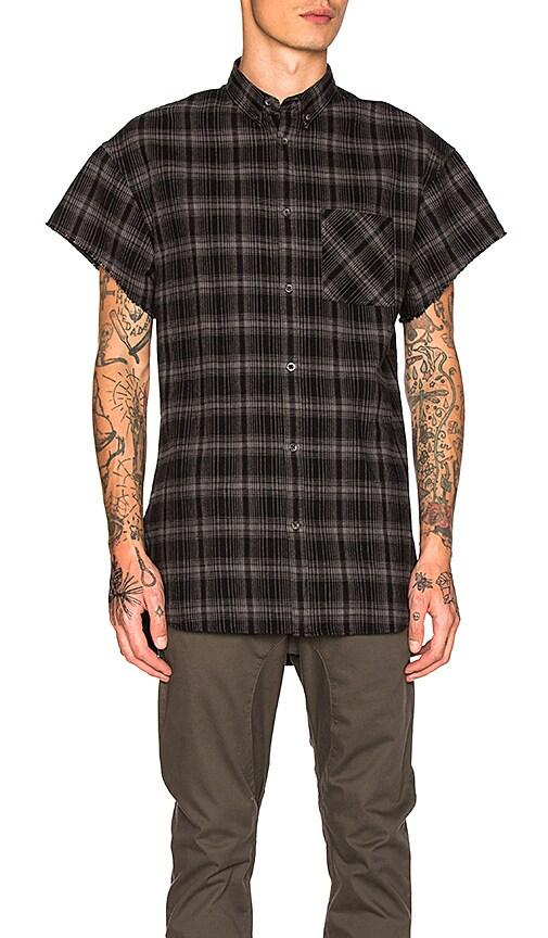 Zanerobe Rugger Cut Sleeve Shirt in Black
