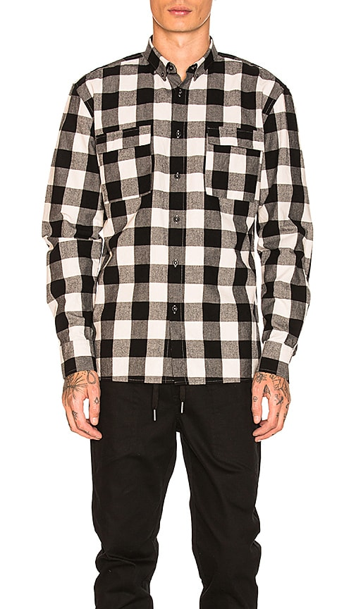 Zanerobe Flannel Box Longsleeve Shirt in Black