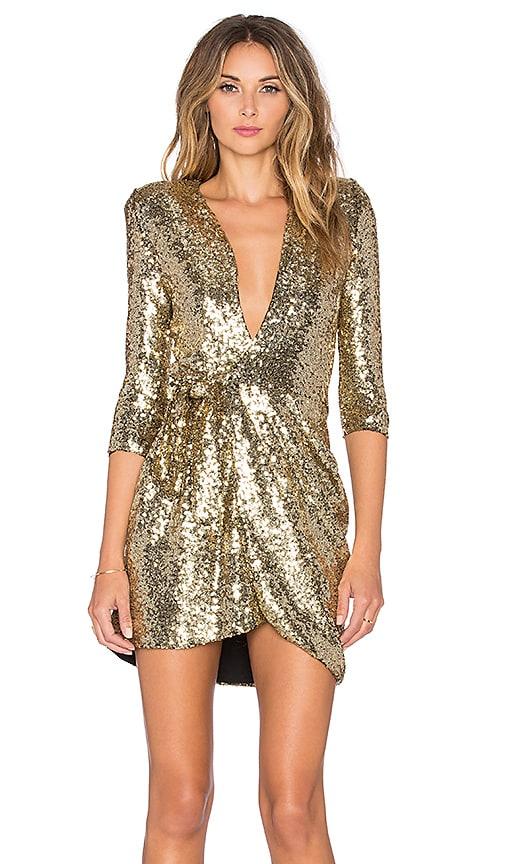 Zhivago Sovereign of Stars Wrap Dress in Metallic Gold