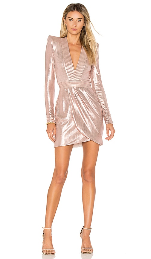 Zhivago Eye Of Horus Metallic Mini Dress in Pink