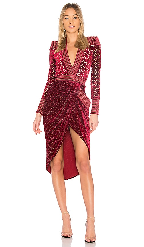 Zhivago Shadow Lounge Midi Dress in Red