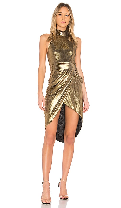 Zhivago Miracle Metallic Dress in Metallic Gold