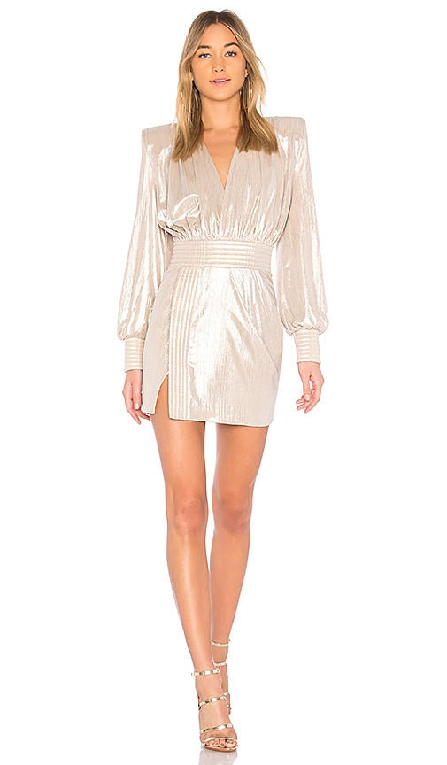 Zhivago Ready Metallic Mini Dress in Metallic Neutral
