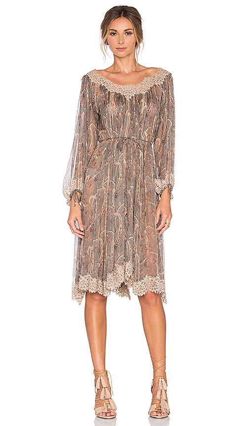 Zimmermann Master Eyelash Smock Dress in Gray
