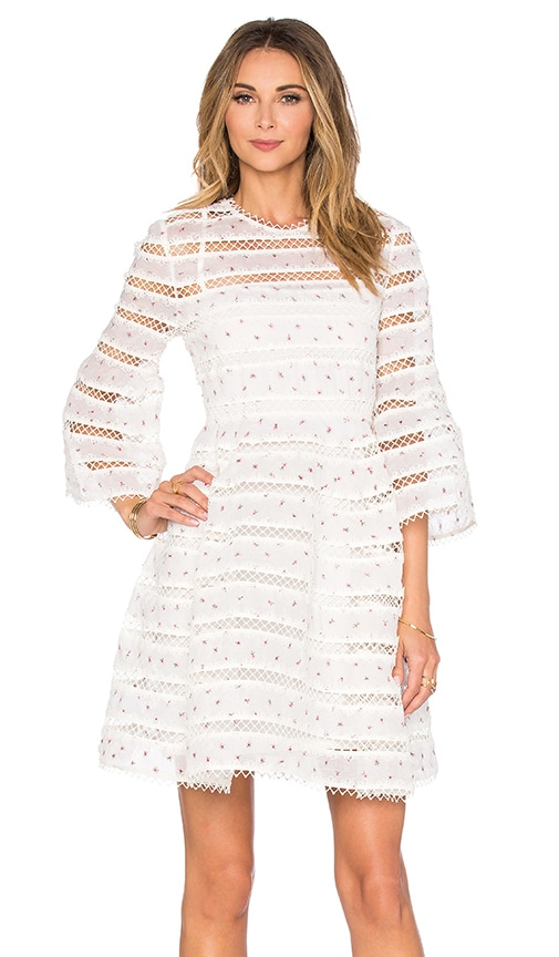 Zimmermann RUNWAY Mischief Rose Bud Dress in White
