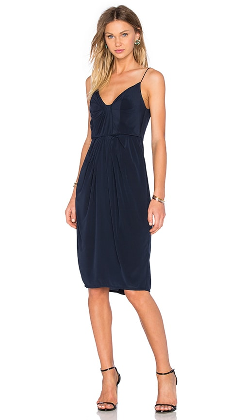 Zimmermann Silk Folded Dress in Navy