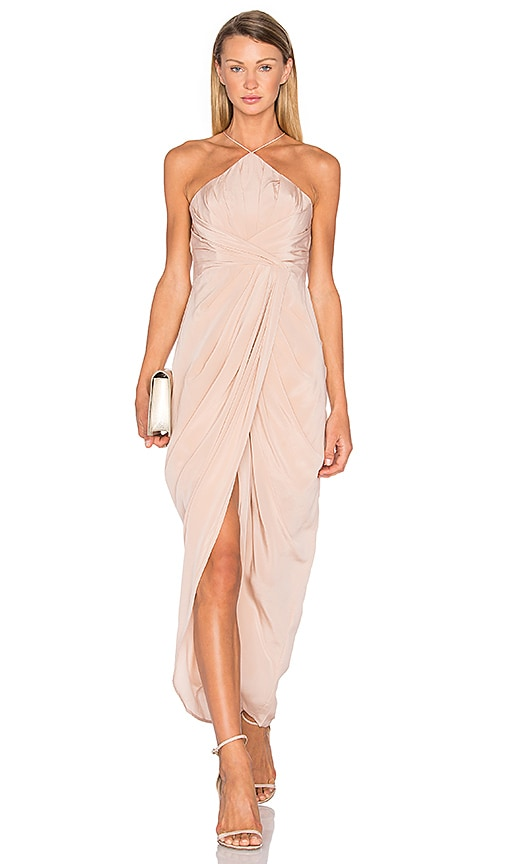 Zimmermann Silk Tuck Long Dress in Blush