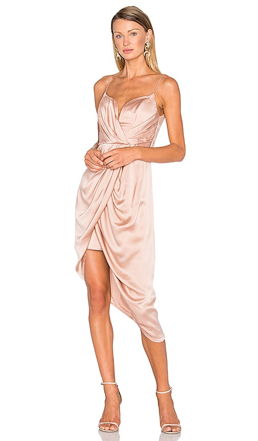 Zimmermann Sueded Silk Plunge Short Dress in Blush