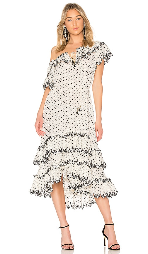 Zimmermann Jaya Scallop Tiered Dress in White