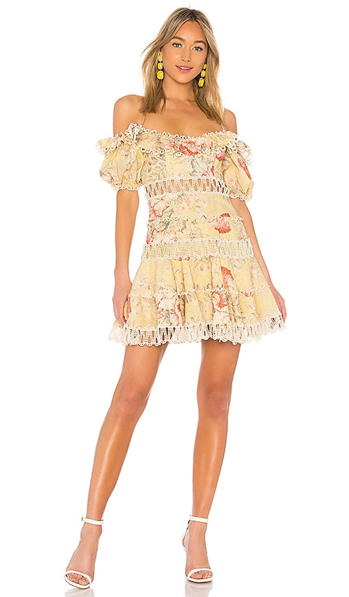 Zimmermann Melody Off Shoulder Dress in Mustard Floral  d09da75df