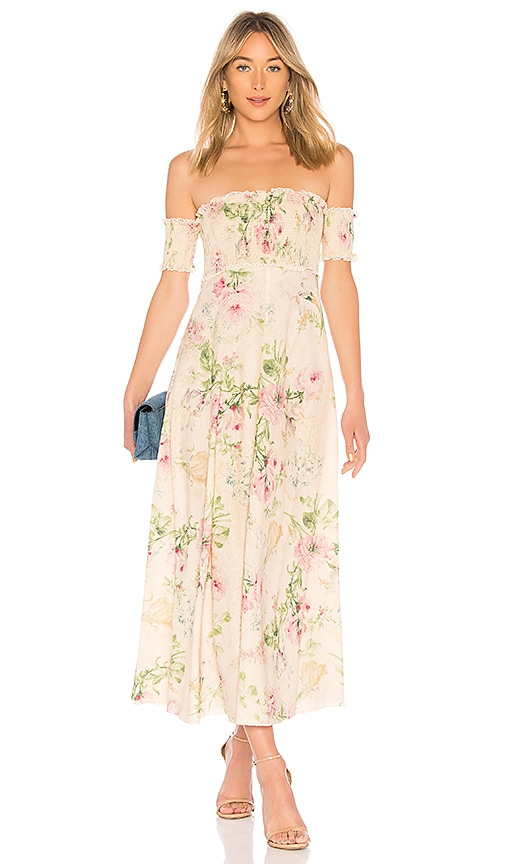 Zimmermann Iris Shirred Bodice Maxi Dress in Cream