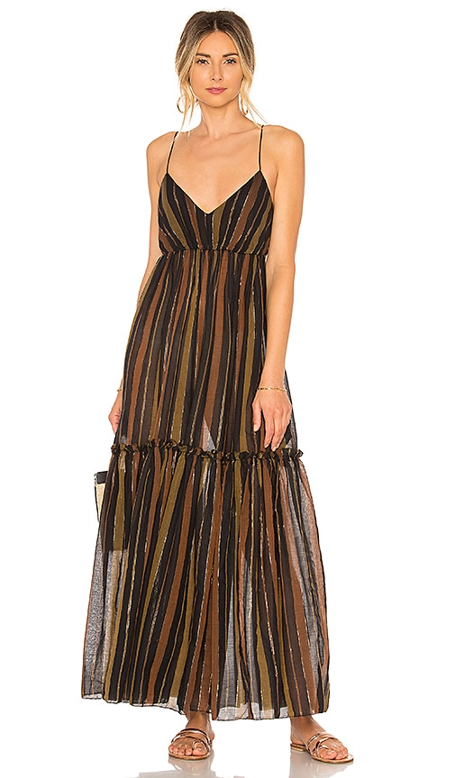 Zimmermann Tali Tiered Maxi Dress in Brown