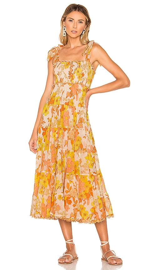 b4802b391db Zimmermann Primrose Crinkle Tie Dress in Marigold Floral